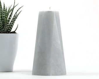 "Concrete Gray Candle - 6"" Tall Pillar - Geometric - Hexagon - Home Decor - Scandinavian Modern - Industrial Chic - New Apartment Gift"