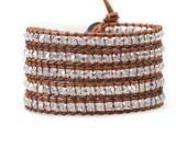 THE SIMPLICITY / SALE 30% Wrap Bracelet, Boho Wrap Bracelet, Crystal Wrap Bracelet, Brown leather Wrap, Bohemian Wrap, Swarovski Braclet
