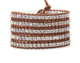 Wrap Bracelet, Boho Wrap Bracelet, Crystal Wrap Bracelet, Brown leather Wrap, Bohemian Wrap, Swarovski Braclet