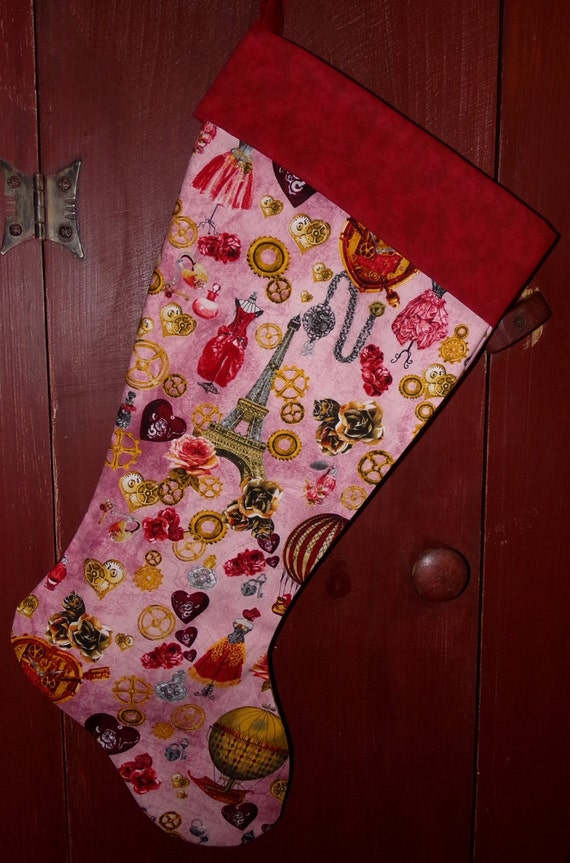 Paris Steam Punk Christmas Stocking