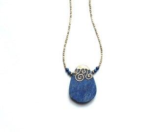long blue lapis necklace / summer birthday gift OOAK extra long pendant necklace / lapis lazuli brass pendant gold / blue gemstone afghan