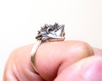"""Hedgehog Ring, Hedgehog Silver Ring """"Forest Little Rascal"""" by Ionasilver, Pure 925 Sterling Silver"""