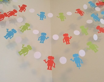 ROBOT Themed Paper Garland Robot Birthday Decoration Robot Party Robot Banner Room Nursery Decorations Bots Baby Shower CUSTOM COLORS 10ft