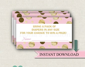 Pink and Gold Diaper Raffle Ticket - Girl Baby Shower - Instant Download - Baby Shower Game - Gold Glitter Baby Shower - Raffle Insert