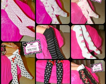 Girls Knee High Socks in Black, White, Pink, Brown,Turquoise, & Polka Dots (Approx ages 2-8yrs)