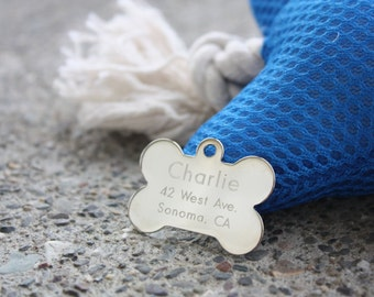 Metal Pet ID Tags, Ships Fast, Engraved Bone Silver or Gold Pet ID Tags, Personalized Pet Tags for Dogs, Custom Made in America Pet Tags