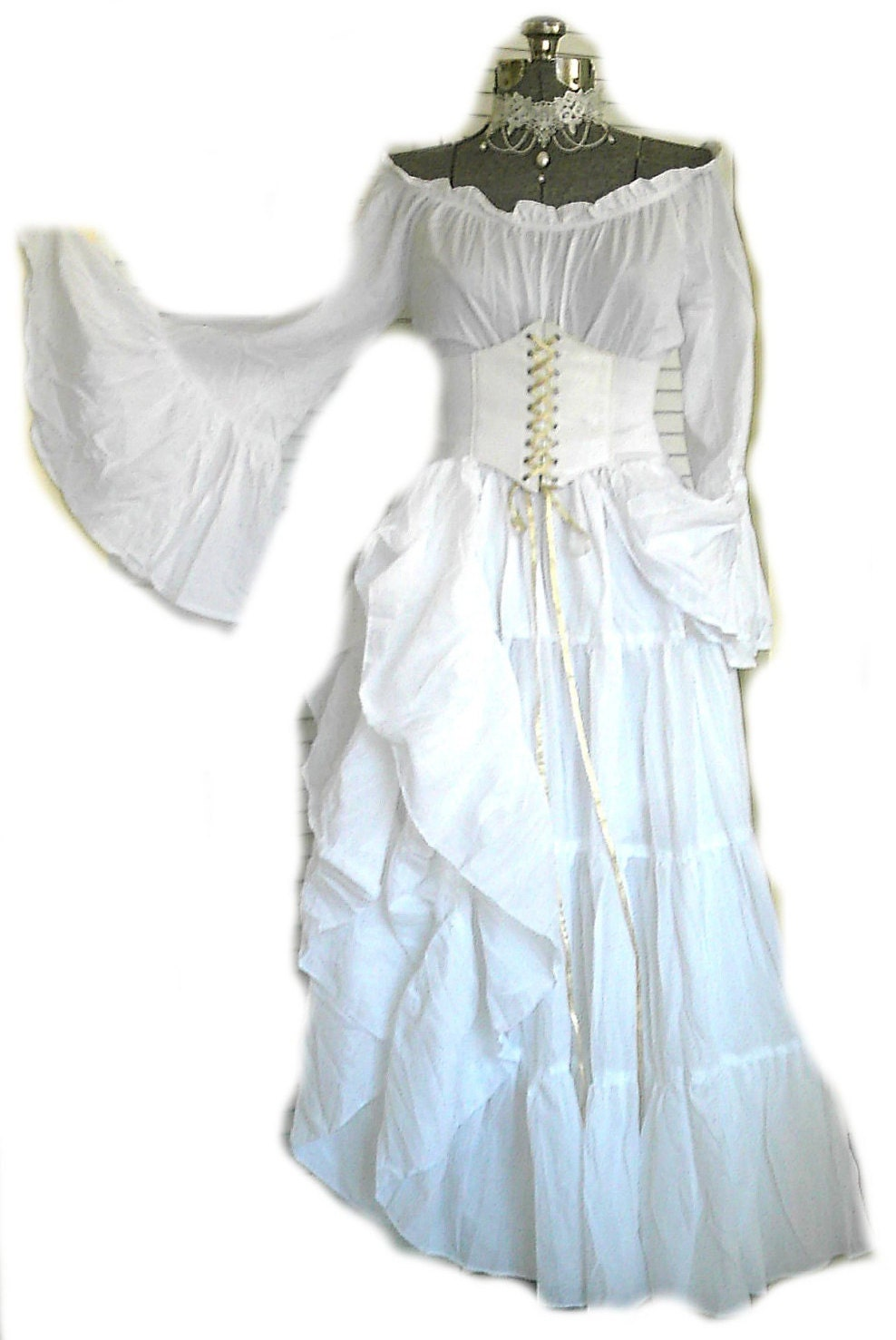 White renaissance dress wedding gown corset chemise pirate for White corset wedding dress