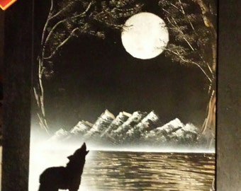 Moonlight Solice spray paint art original signed spray painting wolf painting top selling item Christmas Gift