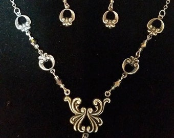 Necklace and Earrings Set Silver Filigree #300