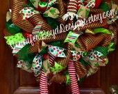 Elf Christmas Mesh Wreath red and white wreath deco mesh wreath