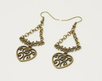Valentine gift/for/her hearts earrings Dangle Earrings Love Earrings Valentine Jewelry Victorian Earring sacred heart jewelry bronze earring