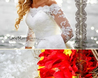 off shoulder lace wedding dress long sleeves wedding dress fit and flare wedding dresses