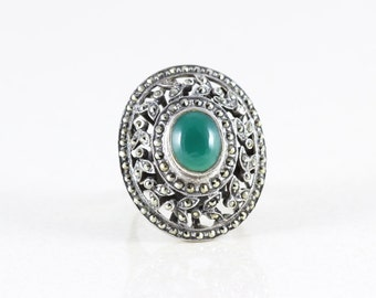 Sterling Silver Green Agate and Marcasite Band Ring Size 5 3/4