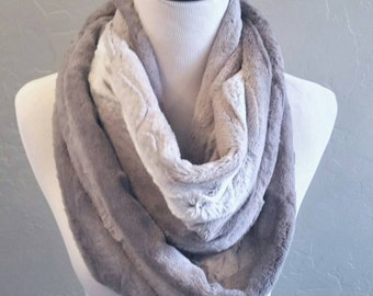 Kitten Soft Faux Chinchilla Fur Scarf in Shades of Grey and Ivory