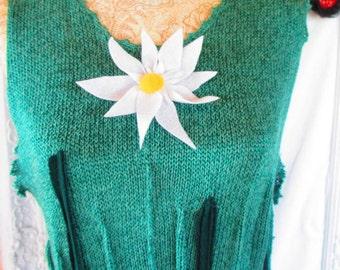 Plus size - Upcycled Boho Green Wool Dress Trendy
