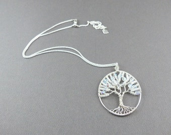 Winter Tree of Life Pendant - Sterling Silver Wire Wrapped Pendant - Winter Season Tree of Life Necklace