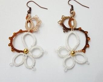 Earrings lace and beads, earrings light, hook earrings, earrings cotton, earrings two colors.