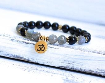 Black Tourmaline Bracelet, Labradorite Mala Bracelet, Wrist Mala Beads, Yoga Bracelet, Spiritual Jewelry, Yoga Jewelry, Boho Jewelry