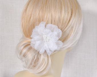 Silk Flower Hair Clip - Wedding Hair Piece - Wedding Hair Flower - Wedding Organza Hair Clip - Bridal Hair Accessories - Wedding Hair Clip