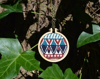 Aztec Pattern Necklace, Geometric Necklace, Mini Embroidery Hoop Necklace, Statement Jewellery, Fabric Necklace, Embroidered Jewellery