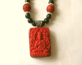 Carved Cinnabar Necklace, Huge Sterling Silver Cinnabar Pendant and Cinnabar and Glass Bead Necklace