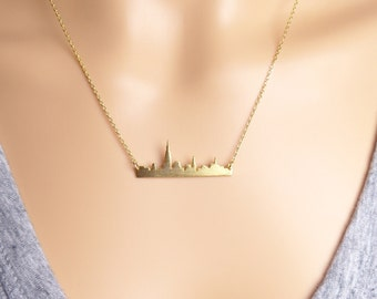 New York city skyline bar necklace, NYC necklace/anniversary gift/Manhattan skyline necklace/Gift idea/back to school necklace