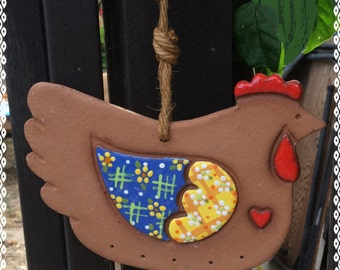 CLAY ROOSTER Wind CHIME Mobile Musical Eggs - Farm Delightful Chicken Eggs Tinkling in the Wind!  *Vintage 1990s*