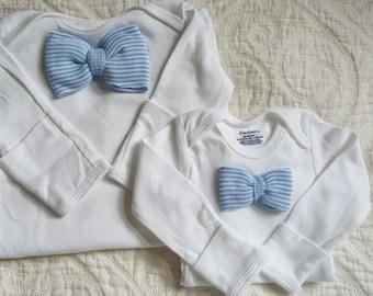 Newborn Boy Bow-tie outfit with matching hat and sock set.  Blue & White Striped Bow-tie.  Newborn Boy Gift Set.  Newborn hospital beanie