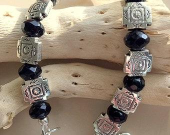 Classic Bracelet - Black Quartz and Silver Etched Beads Unisex Bracelet