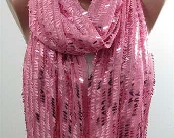 Metallic Pink Scarf Shawl Sequin Scarf Sparkle Scarf Wedding Scarf Bridesmaids Gift Holiday Women Fashion Accessories Christmas Gift For Her