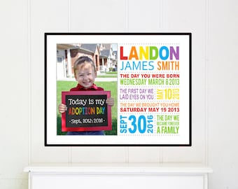 Adoption gift for boys, Adoption Gifts, Adoption Dates Art, Adoption Art, Unique adoption gift, gift for an adopted child, Adoption day gift