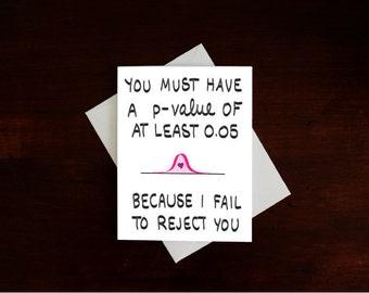 Nerdy Statistics Card, Funny Valentine's Day Card, Romantic Card, Adult Card, Statistics Card, Math Card, Geeky Card, Nerdy Card