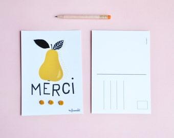"""poscard """" Merci """"  with a lovely pear and felt leaf ."""