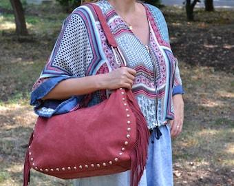 Red BOHO LEATHER BAG, Boho Leather Purse, Boho Chic Leather Bag, Boho Leather Fringe Bag, Hobo Leather Bag, Fringe Bag, Bohemian Leather Bag