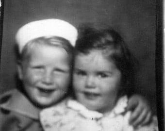 Vintage Photo Booth Photo..Cheek to Cheek 1930's, Original Photo, Old Photo Snapshot, Vernacular Photography, American Social History Photo