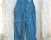 Vintage Dickies faded blue Denim Bib Overalls Hipster Farmer jeans 40 34 oversized boyfriend Large xl 408