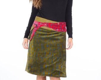 SUPER SALE-Velvet Free Size Reversible  Wrap Cotton Knee Length Skirt Green Blue Red cotton Print