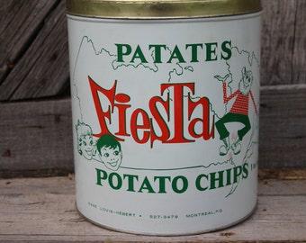Patates Fiesta One Pound Potato Chip Tin from Montreal, Canada