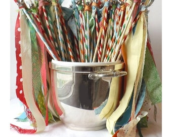 100 Fairy Wands, Woodland Double Streamers with Bell, Boho Birthday Party Favors, Wedding Send Off, Photo Prop, Custom Made In Your Colors