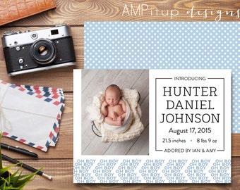 Printable Boys Birth Announcement - Boy Birth Announcement - Instant Download Birth Announcement - Printable Baby - Boy Oh Boy Printable