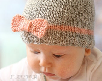 Knit Bow Baby Hat KNITTING PATTERN - knit hat pattern for babies, infants - sizes  0-3 months,  6 months, 12 months, 2T+