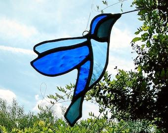 Blue Hummingbird Blue Stained Glass Hummingbird Suncatcher Blue Tiffany Glass Bird Sun Catcher Glass Art Garden Decoration Hummingbird Art