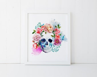 watercolor skull printable · floral watercolor art · skull art print · colorful wall decor · retro home decor · tribal skull printable