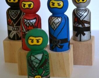 Ninjago Cake Topper - Birthday Party Favors - Wooden Peg People Doll - Stocking Stuffer