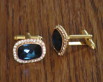 18K Gold Filled Blue Sapphire Crystal Rhinestone Cufflinks
