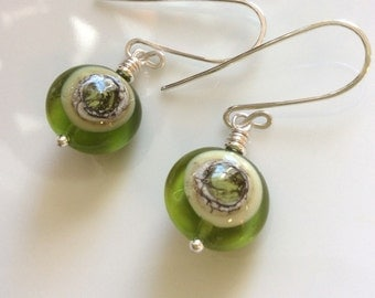Green Glass  Earrings / Lime Green Earrings / Lampwork Glass Earrings / Sterling Silver Earrings / Glass Dangle Earrings