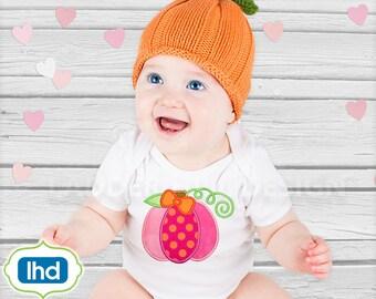 Bow Pumpkin Applique Design - 4 Sizes - Embroidery Design HA035