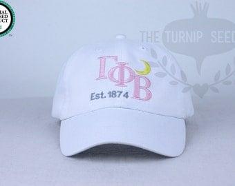 Gamma Phi Beta Cap - Diagonal Name - Custom Color Hat and Embroidery.