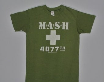 1981 M.A.S.H. T Shirt soft paper thin XS/S mash 80s tv show olive drab green Tee jays 4077th army 20th century fox hipster punk rock