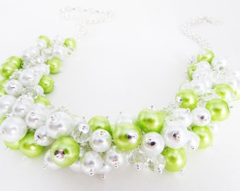 Beaded Lime Green Cluster Necklace and Earrings, Bright Green and White Bead and Crystal Cluster Necklace, Lime Green Cluster Necklace